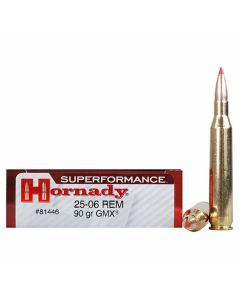 Hornady Superformance 25-06 Remington 90 Grain GMX Polymer Tip Boat Tail 20 Rounds