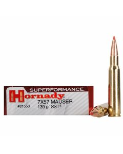 Hornady Superformance 7x57 Mauser 139 Grain SST Polymer Tip Boat Tail 20 Rounds