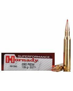 Hornady Superformance 280 Remington 139 Grain SST Polymer Tip Flat Base 20 Rounds