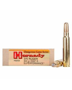 Hornady Dangerous Game Superformance 375 Ruger 300 Grain Rounds Nose Solid 20 Rounds
