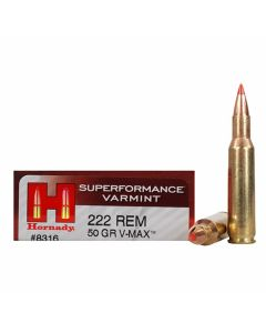 Hornady Superformance 222 Remington 50 Grain V-Max Polymer Tip Flat Base 20 Rounds