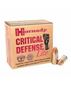 Hornady Critical Defense Lite 9mm 100 Grain Flex Tip Expanding 25 Rounds