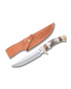 "American Hunter Fancy Skinner with Stag Handles and 440A Stainless Steel 6.50"" Clip Point Plain Edge Blades Model NSI843/8875"