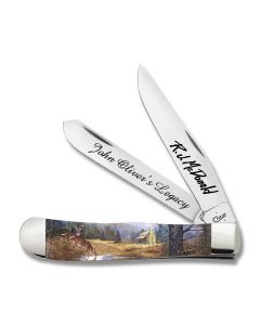 "Case R.J. McDonald Signature Series 3rd Release John Oliver's Legacy Trapper 4.125"" with Acrylic Handles and Tru-Sharp Surgical Steel Plain Edge Blades 9254JOL"