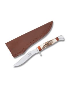Frost Cutlery Voss Cutlery Country Hunter with Stag Handles and Stainless Steel Clip Point Plain Edge Blades Model VC-112