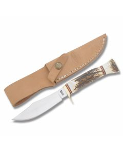"Marbles Trailhand Jr Skinner with Stag Handles and Stainless Steel 4"" Clip Point Plain Edge Blade Model MR817"