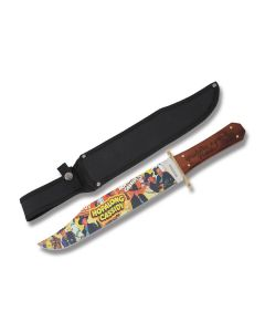 "Rough Rider Hopalong Cassidy Public Hero #1 Bowie with Hardwood Handle and 440A Stainless Steel 11.50"" Clip Point Plain Edge Blades Model RR1927"