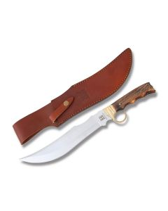 "Rough Rider Gunstock Saddle Bowie with Stag Handles and 440A Stainless Steel 9.25"" Clip Point Plain Edge Blades Model RR1945"