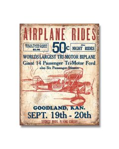 Airplane Rides 50 Cents Tin Sign Model 1872