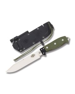 """Utica Cutlery Co UTK Survival Series Fixed Blade with Olive Drab Canvas Micarta Handles and Mirror Finish Coated 1095 Carbon Steel 7"""" Clip Point Plain Edge Blades Model 11-UTKB6GHM"""