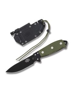 "Utica Cutlery Co UTK Survival Series Fixed Blade with Olive Drab Canvas Micarta Handles and Black Powder Coated 1095 Carbon Steel 4.5"" Drop Point Plain Edge Blades Model 11-UTKS4GH"