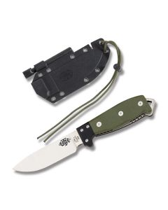 "Utica Cutlery Co UTK Survival Series Fixed Blade with Olive Drab Canvas Micarta Handles and Mirror Finish 1095 Carbon Steel 4.5"" Drop Point Plain Edge Blades Model 11-UTKS4GHM"