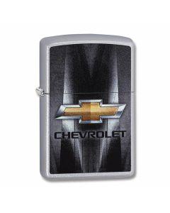 Zippo Satin Chrome Chevrolet Gold Bowtie Lighter Model 29569