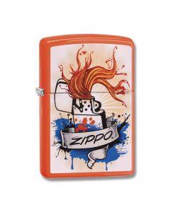 Zippo Neon Orange Zippo Orange Frame Lighter Model 29605