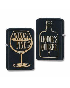 Zippo Black Matte Wine and Liquor Two Sided Lighter Model 29611