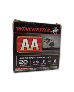 Winchester AA Super Sport Sporting Clays 20 Gauge 7/8oz #8 Shot 25 Rounds
