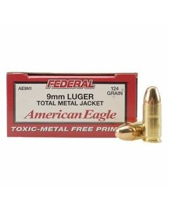 Federal American Eagle 9mm 124 Grain Total Metal Jacket 50 Rounds