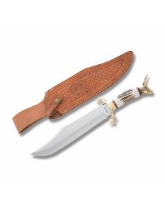 "American Hunter Fixed Blade with Stag Handles and Stainless Steel 12"" Bowie Plain Edge Blades"