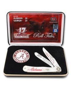 Case Alabama Crimson Tide White Pearl Corelon Trapper Tru-Sharp Surgical Steel Blades