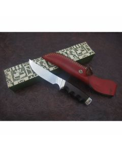 Gerber model 525 knife with 5.875 inch high speed tool steel blade finger grooved ebony wood