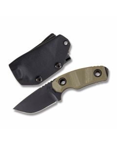 "Atlas Dynamic Defense P.U.K. Fixed Blade with OD Green G-10 Handle and Black Coated CPM-S30V Stainless Steel 2.50"" Drop Point Plain Edge Blade with Black Kydex Sheath Model AT003OD"