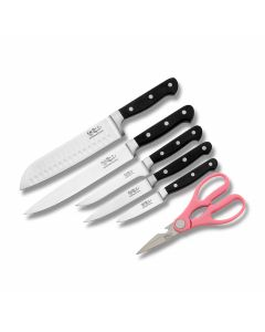 Hen and Rooster 6pc Kitchen Knife Set with Bonus Shears