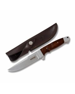 "Boker Vollintegral XL 2.0 Fixed Blade with Guauacan Ebony Wood Handle and Satin Finish 440C Stainless Steel 5.75"" Drop Point Plain Edge Blade with Brown Leather Sheath Model BO122638"