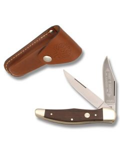 "Boker 2-Blade Folding Hunter 5.25"" with Rosewood Handle and High Carbon Stainless Steel Plain Edge Blades and Leather Belt Sheath Model 112020"
