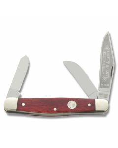 "Boker Tree Brand Premium Stockman 4""  with Smooth Red Bone Handle and Solingen Steel Plain Edge Blades Model 117474SS"