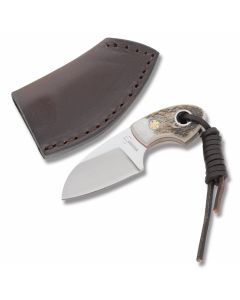 "Boker Plus Gnome with Stag Handle and 440C Stainless Steel 2"" Drop Point Plain Edge Blade and Leather Belt Sheath Model 02BO268"