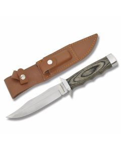 """Boker Magnum Safari Mate Bowie with Laminated Wood Handle and 440 Stainless Steel 5.875"""" Clip Point Plain Edge Blade and Leather Sheath  Model 02MB207"""