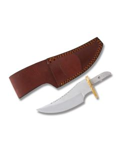 "3.625""Clip Point Blade Blank with Push Tang and Leather Sheath Model BL-OSB1"