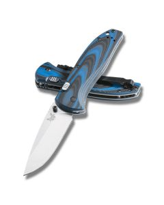 """Benchmade APB Assisted Knife with Black and Blue G10 Handle and 154CM Steel 3.60"""" Drop Point Blade Model 665"""