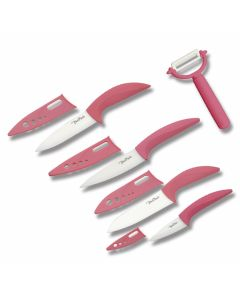 Benchmark 5 Piece Kitchen Knife Set with Pink Synthetic Handles and Ceramic Plain Edge Blades