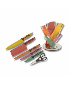 Benchmark Colorful 7 Piece Kitchen Set with Synthetic Handles and Color Coated Stainless Steel Plain Edge Blades