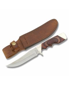 "Bear & Son Trophy Hunter with Rosewood Handle and Stainless Steel 5.125""  Bowie Plain Edge Blade and Leather Belt Sheath Model 277R"