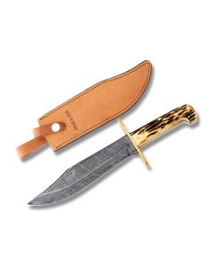 "Bear & Son Bowie with Stag Bone Handles and Damascus Steel 7.063"" Clip Point Plain Edge Blades Model 500D 3/4"