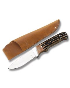 """Bear & Son Hunter with India Stag Bone Handle and High Carbon Stainless Steel 2.875"""" Drop Point Plain Edge Blade Model 549"""