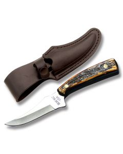 """Bear & Son Upswept Skinner with Imitation Stag Handle and High Carbon Stainless Steel 3.25"""" Skinning Plain Edge Blade and Leather Belt Sheath Model 753"""