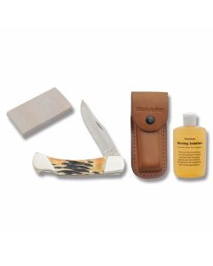 """Bear India Stag Bone Professional Lockback 5"""" with India Stag Bone Handle and 420HC Stainless Steel Blades Model S597"""