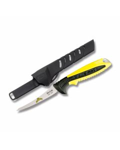 """Buck Mr. Crappie Small Slab Slinger Fishing Knife with Yellow and Black Nylon Handle and Satin Finish 420HC Stainless steel 4"""" Fillet Plain Edge Blade with Black Molded Plastic Sheath"""