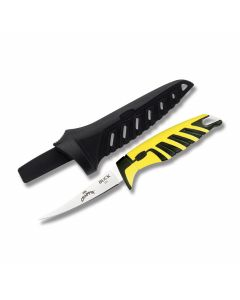 "Buck Mr. Crappie Small Slab Shaver Fishing Knife with Yellow and Black Nylon Handle and Sain Coated 420 J2 Stainless Steel 4"" Fillet Plain Edge Blade with Black Molded Plastic Sheath"