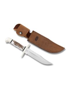 "Buck Knives Limited Edition 640 XL Fixed Blade with Stag Handles and 440C 6.625"" Clip Point Plain Edge Blades Model 0640EKSLE"
