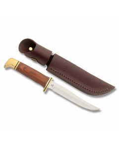 "Buck Pathfinder with Cocobolo Handle and 420HC Stainless Steel 5"" Clip Point Plain Edge Blade with Brown Leather Sheath Model 0103BRS"