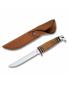 "Case Small Hunter with Stacked Leather Handles and Tru-Sharp Surgical Steel 5"" Clip Point Plain Edge Blades Model 381"
