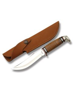 "Case 5"" Skinner Hunter Stacked Leather Handle Tru-Sharp Surgical Steel Blade"