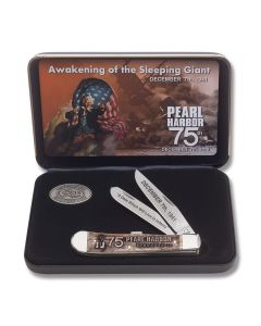 """Case 75th Anniversary Pearl Harbor Trapper 4.125"""" with Laser Embellished Natural Bone Handles and Tru-Sharp Surgical Steel Plain Edge Blades Model 10099"""