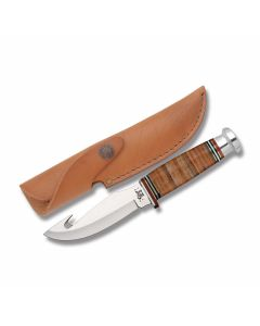 "Case Guthook with Leather Handles and Tru-Sharp Surgical Steel 4.50"" Guthook Plain Edge Blades Model 10340"