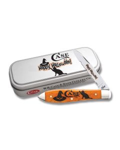"""Case Happy Halloween Tear Drop 3.625"""" with Smooth Persimmon Orange Bone Handles and Tru Sharp Surgical Steel Partially Serrated Edge Blades Model 10573"""