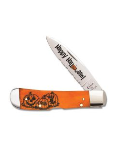 "Case Happy Halloween Tribal Lock 4.125"" with Smooth Persimmon Bone Handles and Tru-Sharp Surgical Steel Partially Serrated Edge Blades Model 10580"